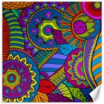 Pop Art Paisley Flowers Ornaments Multicolored Canvas 12  x 12