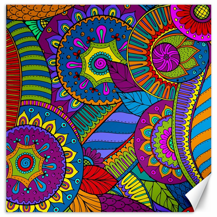 Pop Art Paisley Flowers Ornaments Multicolored Canvas 16  x 16