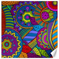 Pop Art Paisley Flowers Ornaments Multicolored Canvas 20  X 20