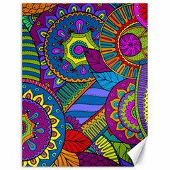Pop Art Paisley Flowers Ornaments Multicolored Canvas 18  X 24