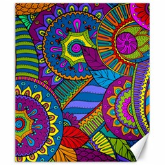 Pop Art Paisley Flowers Ornaments Multicolored Canvas 20  X 24   by EDDArt