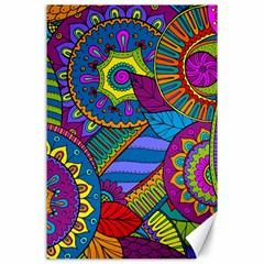 Pop Art Paisley Flowers Ornaments Multicolored Canvas 24  x 36
