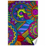 Pop Art Paisley Flowers Ornaments Multicolored Canvas 24  x 36