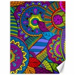 Pop Art Paisley Flowers Ornaments Multicolored Canvas 36  x 48