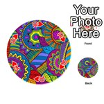Pop Art Paisley Flowers Ornaments Multicolored Playing Cards 54 (Round)  Front - Heart10