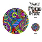 Pop Art Paisley Flowers Ornaments Multicolored Playing Cards 54 (Round)  Front - Club5