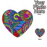 Pop Art Paisley Flowers Ornaments Multicolored Playing Cards 54 (Heart)  Front - Heart3