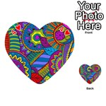 Pop Art Paisley Flowers Ornaments Multicolored Playing Cards 54 (Heart)  Front - Heart4