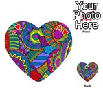Pop Art Paisley Flowers Ornaments Multicolored Playing Cards 54 (Heart)  Front - HeartA