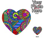 Pop Art Paisley Flowers Ornaments Multicolored Playing Cards 54 (Heart)  Front - Diamond7