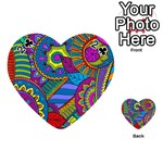Pop Art Paisley Flowers Ornaments Multicolored Playing Cards 54 (Heart)  Front - Club2
