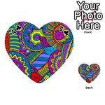 Pop Art Paisley Flowers Ornaments Multicolored Playing Cards 54 (Heart)  Front - Club4