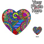 Pop Art Paisley Flowers Ornaments Multicolored Playing Cards 54 (Heart)  Front - Joker2