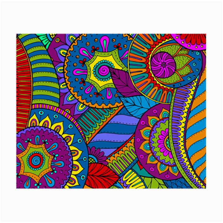 Pop Art Paisley Flowers Ornaments Multicolored Small Glasses Cloth (2-Side)