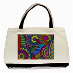 Pop Art Paisley Flowers Ornaments Multicolored Basic Tote Bag (Two Sides) Back