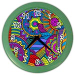Pop Art Paisley Flowers Ornaments Multicolored Color Wall Clocks
