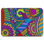 Pop Art Paisley Flowers Ornaments Multicolored Large Doormat