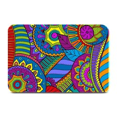 Pop Art Paisley Flowers Ornaments Multicolored Plate Mats by EDDArt