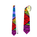 Pop Art Paisley Flowers Ornaments Multicolored Neckties (Two Side)  Back