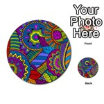 Pop Art Paisley Flowers Ornaments Multicolored Multi-purpose Cards (Round)  Front 54