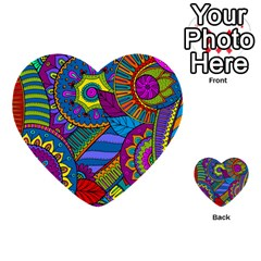 Pop Art Paisley Flowers Ornaments Multicolored Multi Purpose Cards (heart)