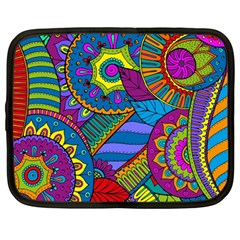 Pop Art Paisley Flowers Ornaments Multicolored Netbook Case (large)