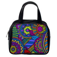 Pop Art Paisley Flowers Ornaments Multicolored Classic Handbags (one Side) by EDDArt