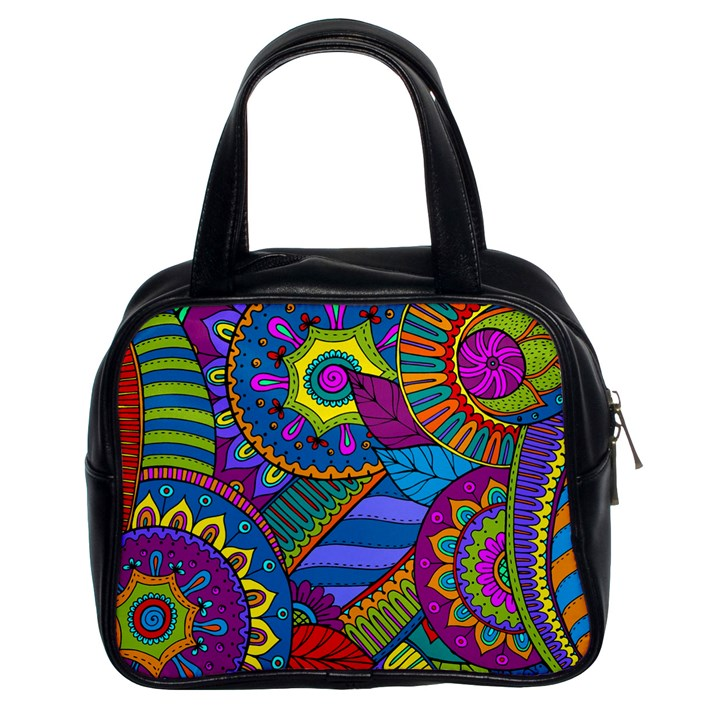 Pop Art Paisley Flowers Ornaments Multicolored Classic Handbags (2 Sides)