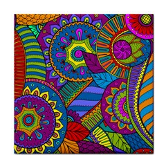 Pop Art Paisley Flowers Ornaments Multicolored Face Towel by EDDArt
