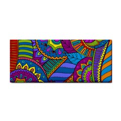 Pop Art Paisley Flowers Ornaments Multicolored Hand Towel by EDDArt