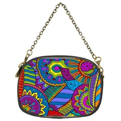Pop Art Paisley Flowers Ornaments Multicolored Chain Purses (one Side)  by EDDArt