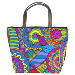 Pop Art Paisley Flowers Ornaments Multicolored Bucket Bags