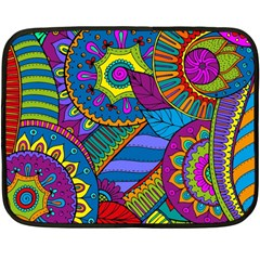 Pop Art Paisley Flowers Ornaments Multicolored Fleece Blanket (mini)