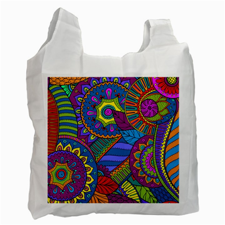 Pop Art Paisley Flowers Ornaments Multicolored Recycle Bag (Two Side)
