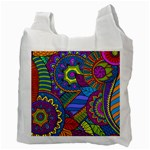Pop Art Paisley Flowers Ornaments Multicolored Recycle Bag (Two Side)  Back