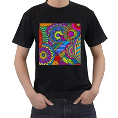 Pop Art Paisley Flowers Ornaments Multicolored Men s T Shirt (black)