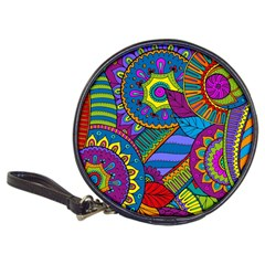 Pop Art Paisley Flowers Ornaments Multicolored Classic 20 Cd Wallets