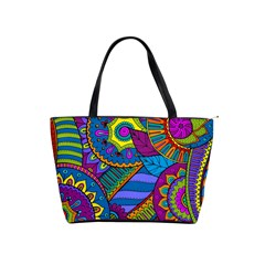 Pop Art Paisley Flowers Ornaments Multicolored Shoulder Handbags by EDDArt