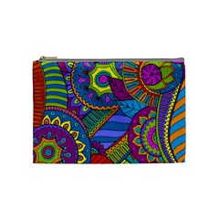 Pop Art Paisley Flowers Ornaments Multicolored Cosmetic Bag (medium)  by EDDArt