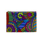 Pop Art Paisley Flowers Ornaments Multicolored Cosmetic Bag (Medium)