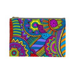 Pop Art Paisley Flowers Ornaments Multicolored Cosmetic Bag (large)  by EDDArt