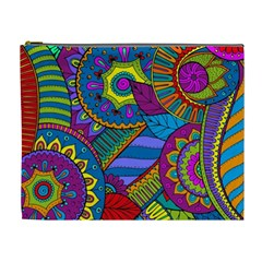 Pop Art Paisley Flowers Ornaments Multicolored Cosmetic Bag (xl) by EDDArt