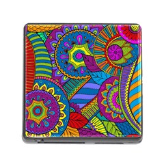 Pop Art Paisley Flowers Ornaments Multicolored Memory Card Reader (square) by EDDArt