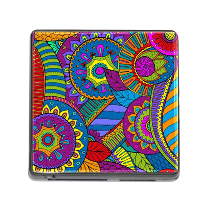 Pop Art Paisley Flowers Ornaments Multicolored Memory Card Reader (Square)