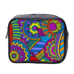 Pop Art Paisley Flowers Ornaments Multicolored Mini Toiletries Bag 2 Side by EDDArt