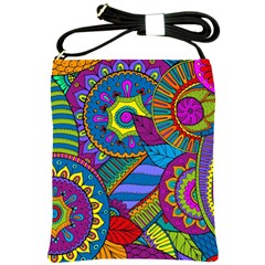 Pop Art Paisley Flowers Ornaments Multicolored Shoulder Sling Bags
