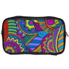 Pop Art Paisley Flowers Ornaments Multicolored Toiletries Bags 2 Side