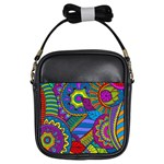 Pop Art Paisley Flowers Ornaments Multicolored Girls Sling Bags Front