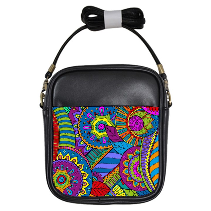 Pop Art Paisley Flowers Ornaments Multicolored Girls Sling Bags
