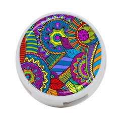 Pop Art Paisley Flowers Ornaments Multicolored 4 Port Usb Hub (one Side)